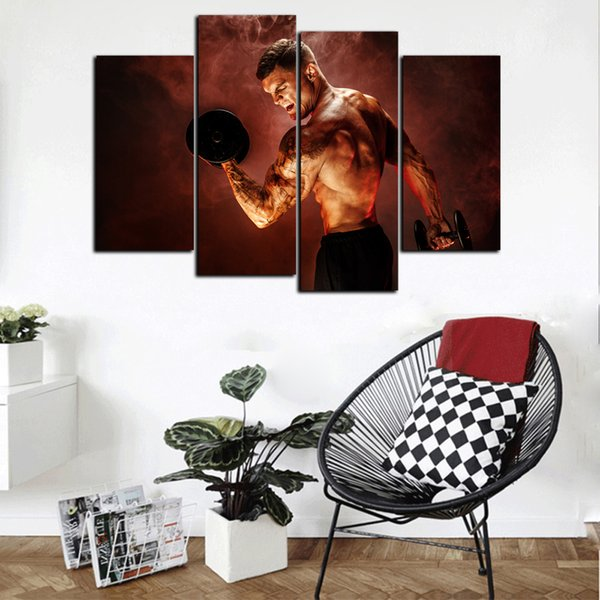 New Modern Lager HD Print Abstract 4 Panel Bodybuilder Man Oil Painting On Canvas Home Wall Art Picture For Living Room Decor