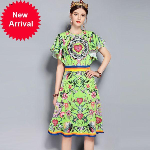 New 2018 Fashion Designer Runway Summer Dress Women's Short Sleeve Striped Floral Print Vintage Dress