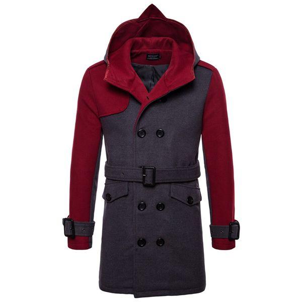 AOWOFS Wintermantel Männer Mode Mit Kapuze Herren Mantel Zweireiher Patchwork Wolle Jacke Männer Pea Coat Trench Kind Windjacke
