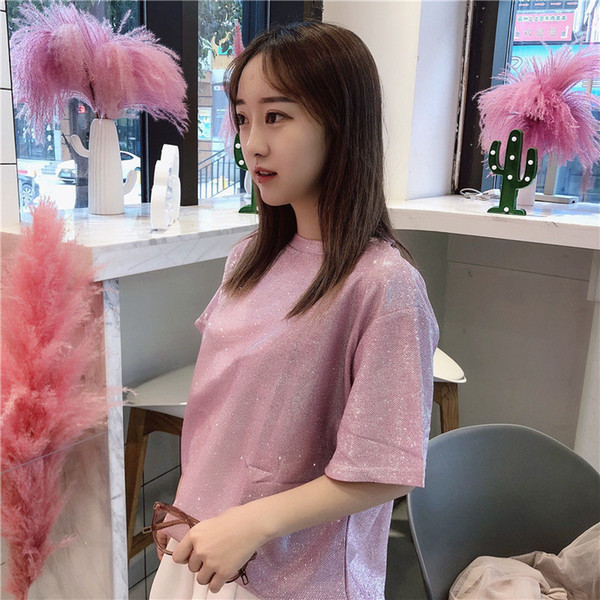 Harajuku Lolita Sequins Loose Shining T Shirt Tops Women Summer Schoolgirl Streetwear Korean Fashion Pink WhiteTops Female D'655