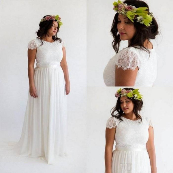 Discount Hippie Style Bohemian Wedding Dresses 2018 Beach A Line Wedding  Dress Plus Size Boho Bridal Gowns Cap Sleeve White Lace Chiffon A Line  Formal ...