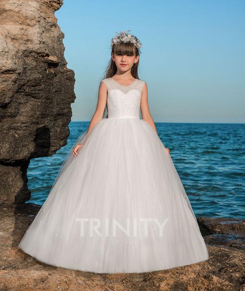 Lovely Tulle Avorio / Organza Jewel Beads Beach Flower Girl Abiti Girls Pageant Abiti Holiday / Birthday Dress Custom Size 2-14 DF720501
