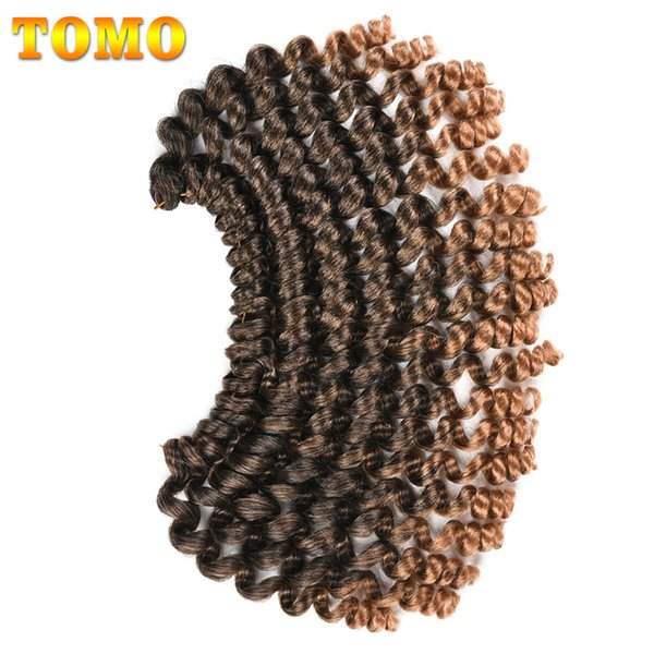 TOMO Synthetic Braiding Hair Extensions Crochet Braids Jumpy Wand Curl Kanekalon ombre color For Woman Jamaican Bounce Curly 20 Strands/pack
