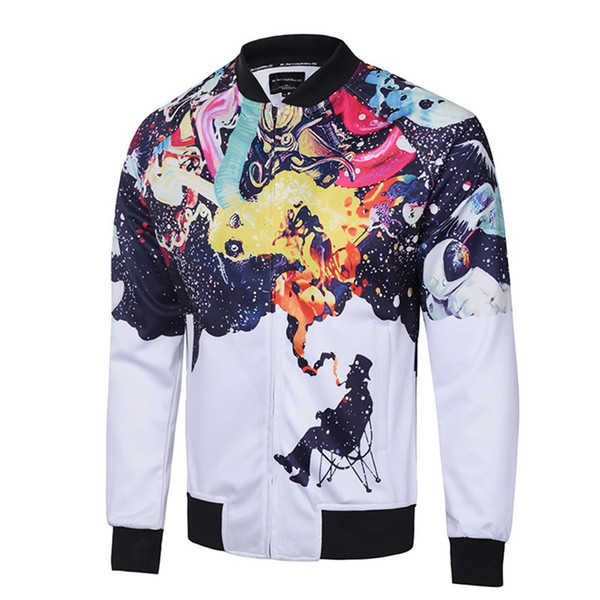 Wholesale Free shipping Men Casual Style Cloudstyle Oil Painting 3D Digital Printing Outwear Baseball Jacket Coat