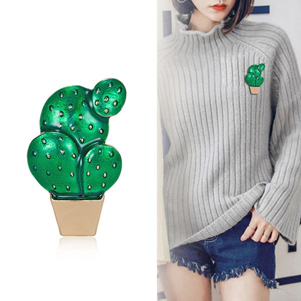 Creative Potted Cactus Brooch Women Girls Plant Suit Lapel Pin for Gift Party Jewelry Accessories with Fast Shipping
