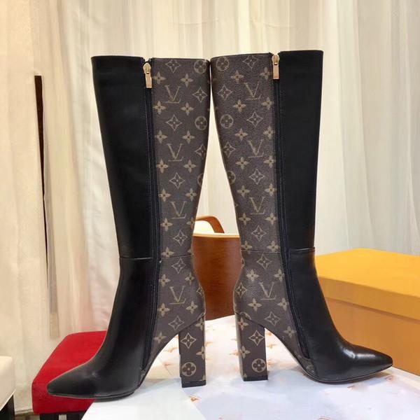 Frauen kniehohe stiefel Winter 2018 neue mode aus echtem leder V Sexy High Heel Stiefel 9,5 CM Reißverschluss schnalle 15-zoll Gerade Ritter Stiefel