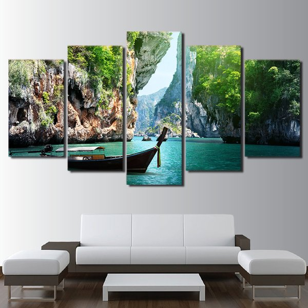 Modern Home Wall Art Home Decor Framework Pictures 5 Pieces Nature Canyon Lake Landscape HD Printed Painting On Canvas Posters