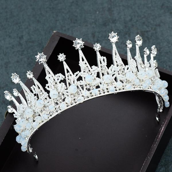 Korea Bridal Crowns Headbands Bride Pearls Crystal Tiara Princess Crown Wedding Tiaras Hairbands Baroque Party Tiaras Hair Accessories