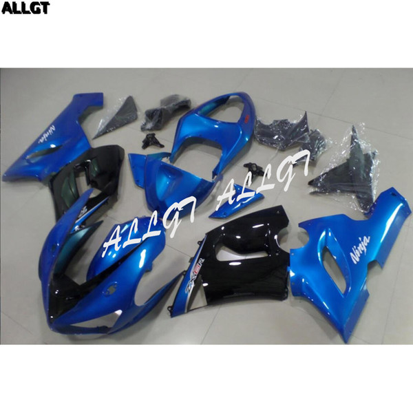 Aftermarket ABS Motorcycle Fairings Kit with Full Fairing Bolts For Kawasaki Ninja ZX6R ZX 6R 2005 2006 Glossy Blue Body Kits