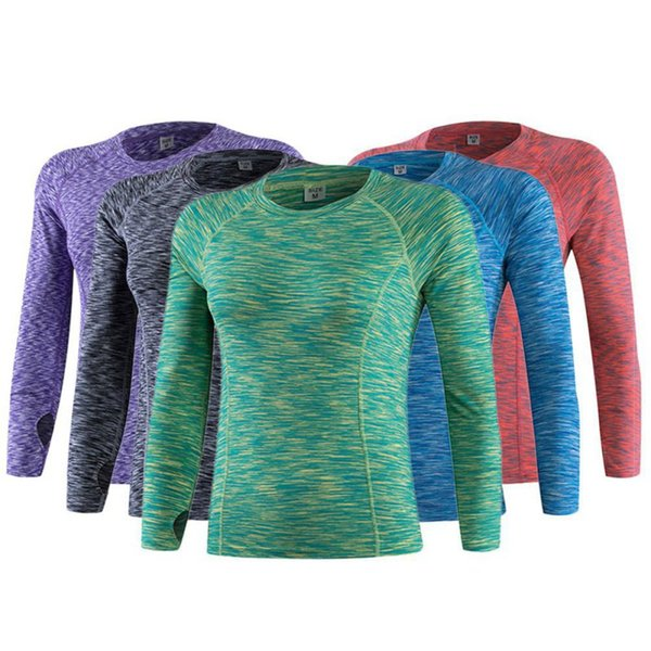 Women Fitness Running Sports Stretch T Shirt Long Sleeve Quick Dry Tees Jogging Exercises Athletic Yoga Compression Tops