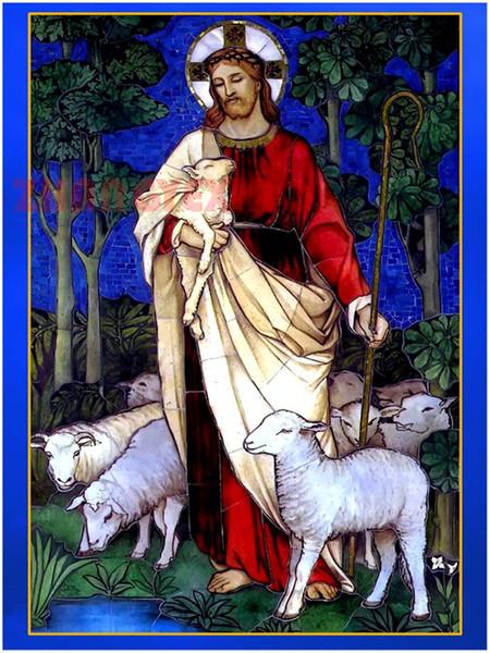 Mozaik ev dekorasyon koyun İsa Mesih diy elmas boyama çapraz dikiş kiti taklidi tam roundsquare elmas nakış AA0152