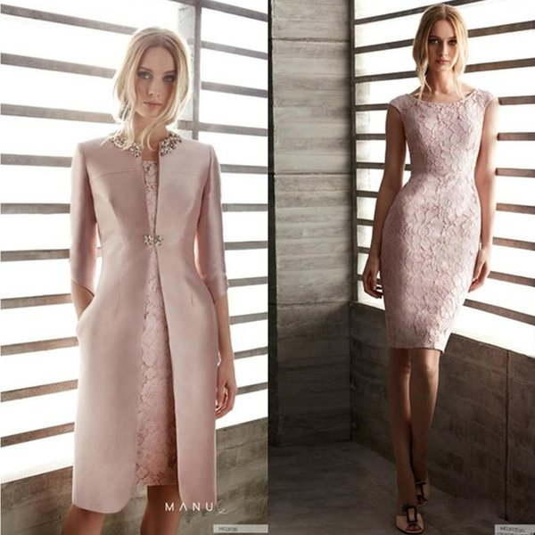Mother Of The Bride Dresses With Jacket Lace Jewel Neck Knee Length Long Sleeve Elegant Mother's Gowns Wedding Guest Dress Cocktail