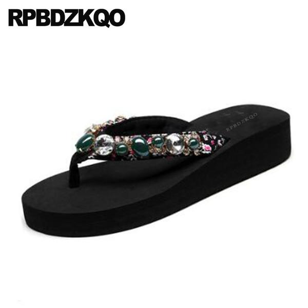 Rhinestone Flip Flop Big Size Crystal Diamond Sandals Wedge Floral Print Women Platform Slippers Wide Fit Shoes Ladies Slides