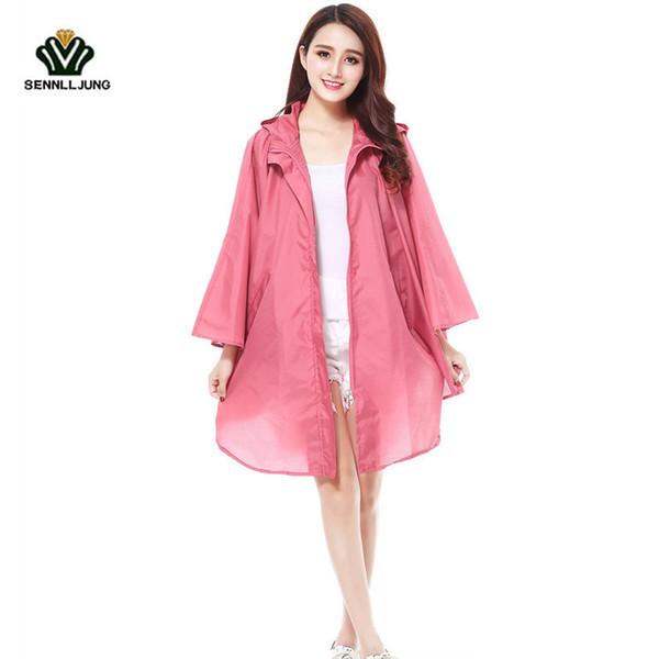 SENNLLJUNG Leisure Fashion Super Light Raincoat For Woman Outdoor Travel Waterproof Rainwear Girl Hiking Riding Poncho Rain Coat