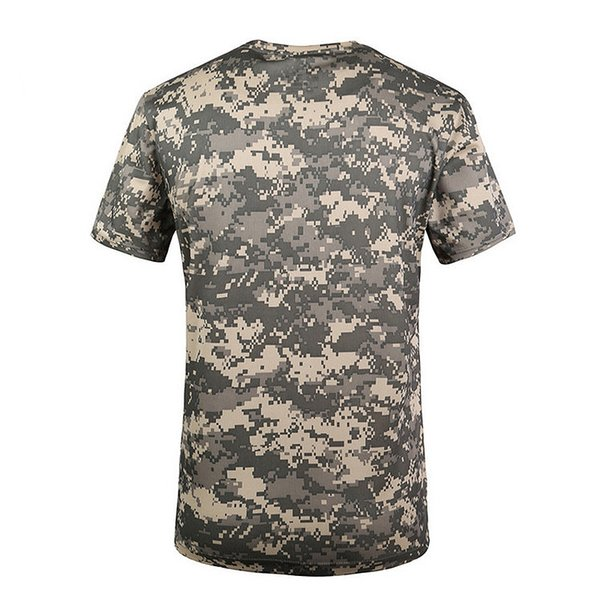 New Outdoor Hunting Camouflage T-shirt Men Breathable Army Tactical Combat T Shirt Dry Sport Camo Camp Tees-ACU Green