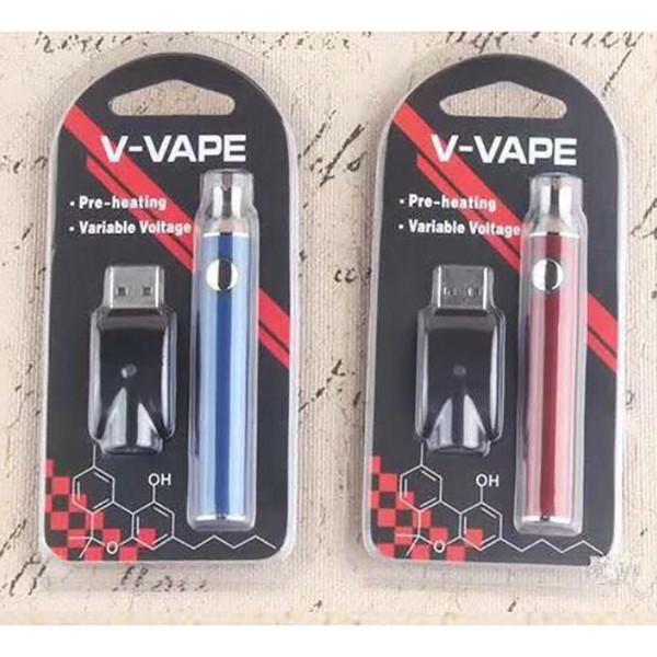 V-VAPE LO Precalentamiento VV Batería Blister 650mAh Voltaje variable ajustable con cargador USB Para 510 Cera Grueso de precalentamiento de aceite de aceite