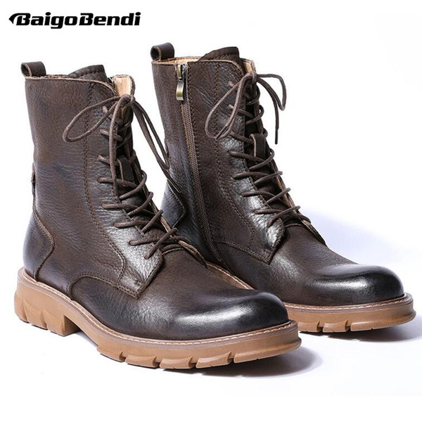 Genuine Leather Mid Calf Boots Men Retro Thick Heel Soliders Ridding Boots Work Safety Winter Boots For Man Hight Quality
