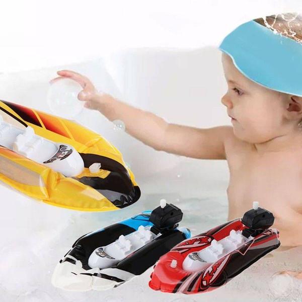 5 pçs / lote Baby Kids Clockwork Wind Up Inflável Barco Navio Jogar Banho De Água Banho Brinquedo Padrão Aleatória