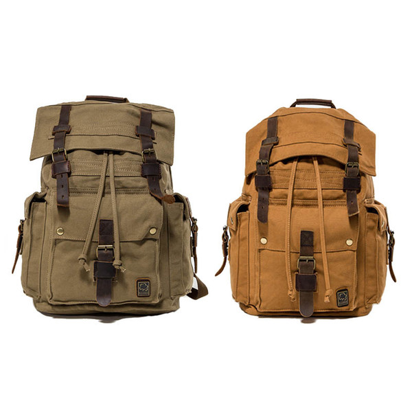 fe1b8a5dabd4 Vintage Canvas Backpack Casual Shoulder Bag Large Capacity Rucksack for Men  and Women Retro Yellow Green Free Shipping G163S