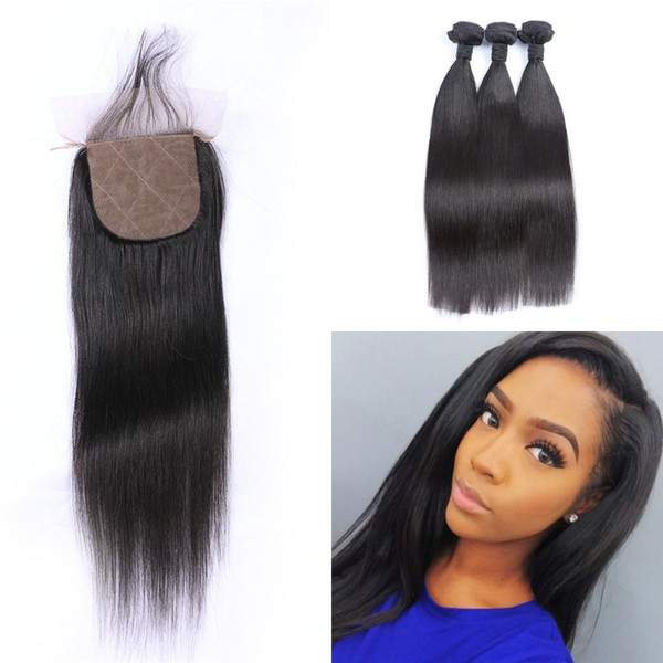 Peruvian Hair With Closure Free Middle Three Part Virgin Straight Human Hair 3 Bundles With Silk Base Closure G-EASY