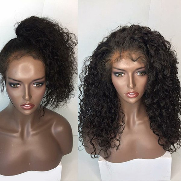 Style Qingdao 100% unprocessed aaaa best remy virgin human hair long natural color deep wave full lace silk top wig for lady