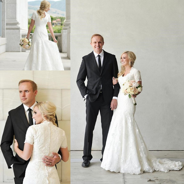 Vintage Mermaid Lace Modest Wedding Dresses With Sleeves V Neck Appliques Buttons Back Wedding Gowns Country Cheap Chinese Bridal Gowns