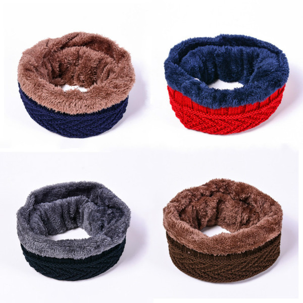 Women men Chunky Cable O Ring Knitted Wool Scarf Snood Infinity Neck Thickened Warm Collar Circle Crochet Scarf Winter warmers