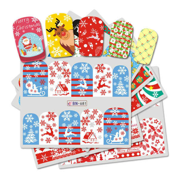 1PCS Deer Santa Clause Christmas Water Transfer Nail Art Sticker Decal Slider Manicure Wrap Tool Tip Xmas Decoration JIBN673-684