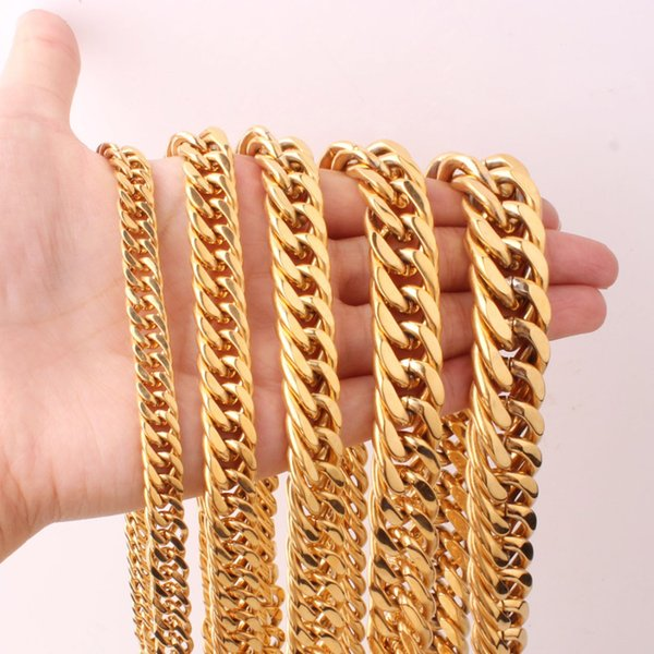Fashion Men's Women's Golden Cuban Curb Chain Necklaces Or Bracelet 6/8/10/12/14/16/18/21MM 316L Stainless Steel Jewelry