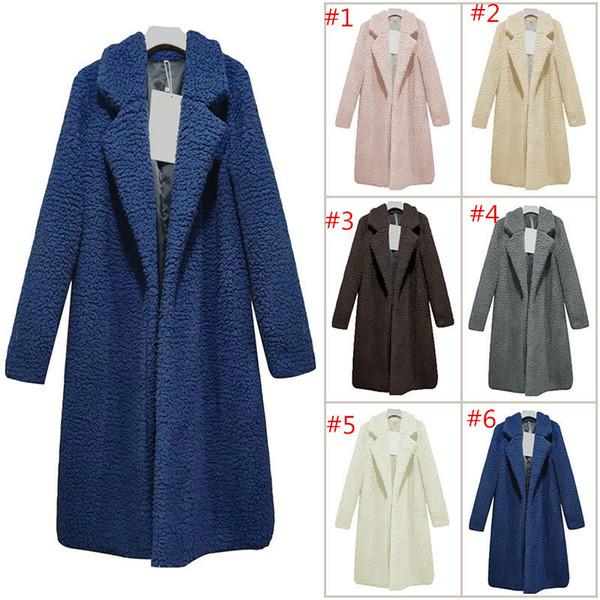 Women Sherpa Long Coats Capes Faux Fur Collar Cashmere Sweater Jacket OL overcoat winter windbraker warm snow Sweatshirt Outerwear 2018 best