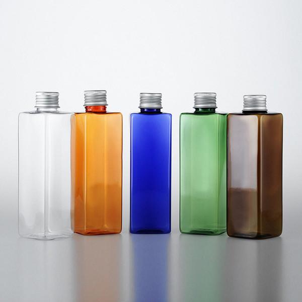 Flacone in alluminio da 250ml Bottiglie riutilizzabili Trasparente / verde / blu / arancione / marrone Bottiglie quadrate vuote piccole F1595