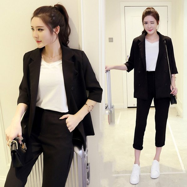 Set female 2018 spring and summer new style temperament fashion black small suit + nine trousers elegant leisure two-piece