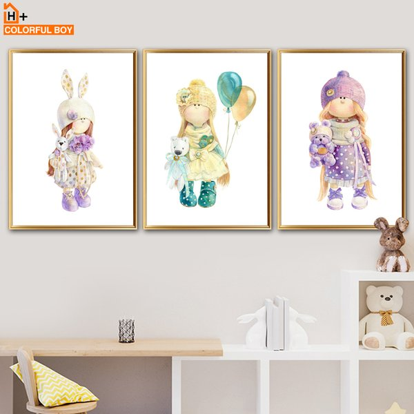 COLORFULBOY Long Hair Girl Wall Art Print Canvas Painting Pop Art Posters And Prints Wall Pictures Nordic Style Kids Decoration