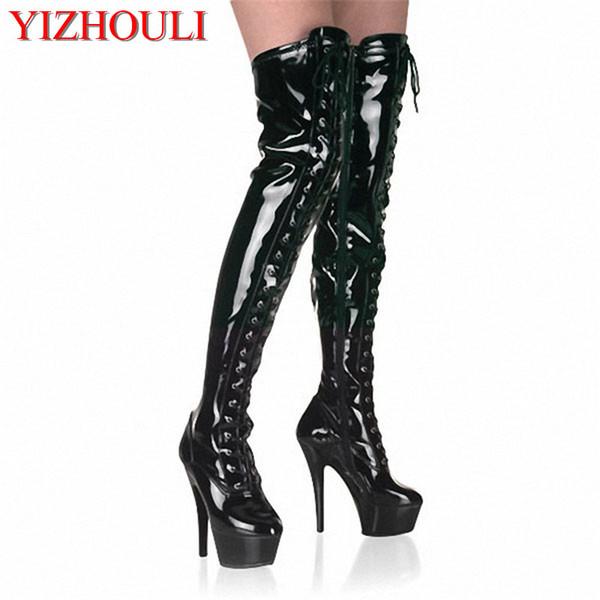 15 cm Zapatos de tacón alto Correa Botas altas Plataforma Clubbing Bailarinas exóticas Botas cerrojo 6 pulgadas Sexy para mujer Gladiador Muslo Alto