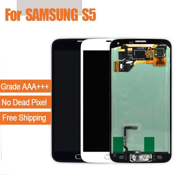 Per Samsung Galaxy S5 i9600 G900F G900H G900M G900 Bianco nero Touch Screen LCD display Digitizer Sostituzione spedizione gratuita