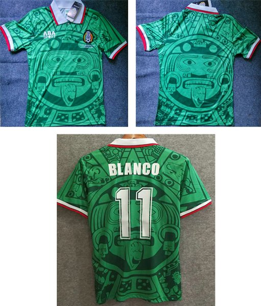 66ccfa96fa9 1998 Mexico home green retro soccer shirts BLANCO vintage football jersey  adult's a+++ thai quality sport