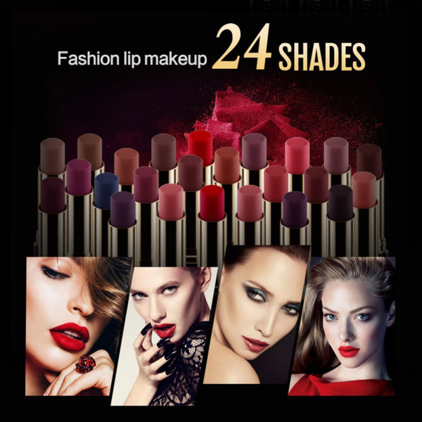 2018 New Lip Makeup Waterproof Pigments Red Metallic Velvet Mae Batom maquiagem Sexy Long Lasting Smooth Lipstick 24 colors D8