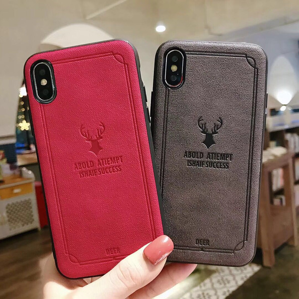 Deer Design Leather 3D Pattern TPU Soft Back Cover Holster Case Stylish Animal Phone Shell Fundas Caser For iPhone X Xs Max XR 6 7 8 Plus