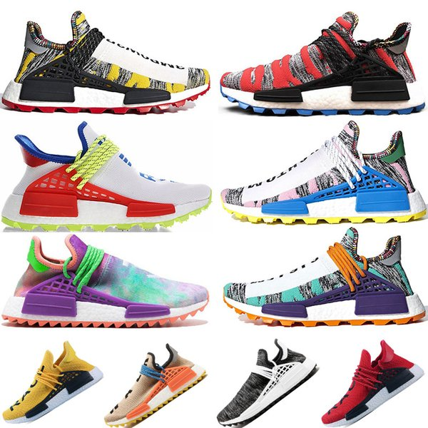 Creme x NERD Afro human race Solar Pack pharrell williams Hu trail Cream Core nerd holi nobel trainers Mens Women Sports sneaker 36-47