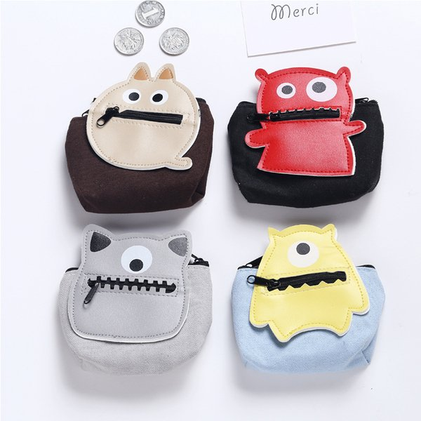 Little Monsters Cartoon Coin Purses Zipper Canvas Mini Wallets Change Bags Can Be Disassembled Portable Handbag Key Holders Free Shipping
