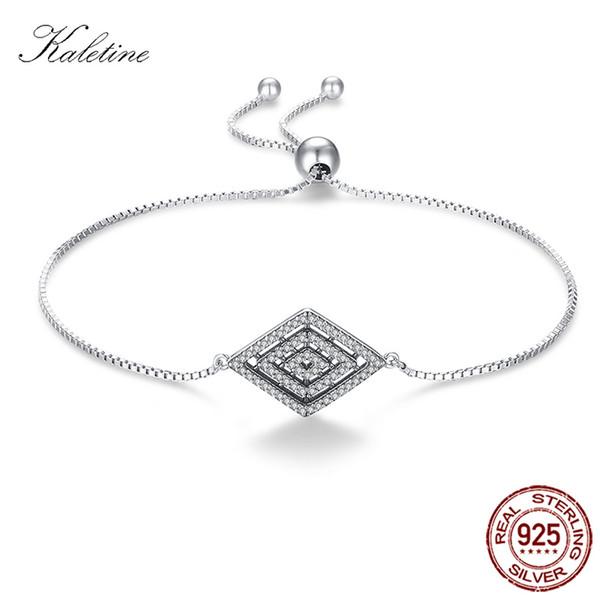 KALETINE Vintage Forever Fancy Bracelet for Men Women 925 Sterling Silver Crystal Bracelets with Bead Adjustable Jewelry KLTB052