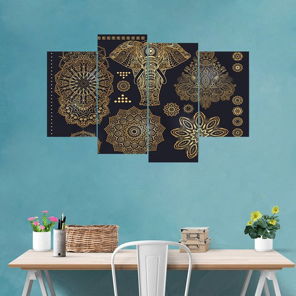 4pcs/set 3D Muslim Pattern Style DIY Ramadan Blessings Art Mural Personalized Stickers Combination Wall Decals Waterproof Home Decor Moon