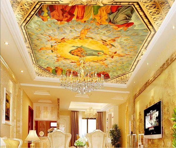 Wallpaper Coloring European Luxury Royal Eden Stereoscopic Ceiling Murals Wallpaper 3d Stereoscopic High Definition Hd Wallpapers High Definition