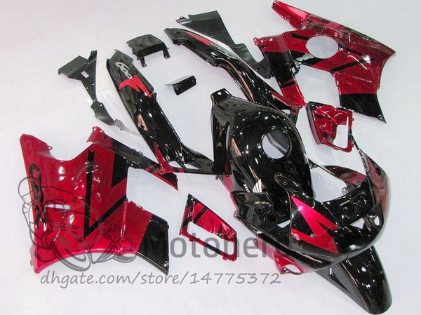 Motocycle fairings for HONDA CBR600 F2 91 92 93 94 CBR600F2 1991 1992 1993 1994 CBR 600 Black Red custom fairings set A324e