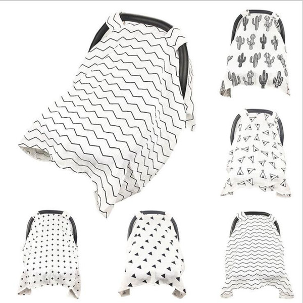 baby Car Seat Canopy covers Newborn Nursing Cover blanket Striped Sunscreen Car Seat Canopy Cart Cover KKA5023