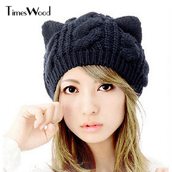 Winter Cat Beanie Hat Ladies Knit Hat For Women Beanies Caps Beanie Touca Knitted Cap With Ear Flaps Ladies Female Headwear 2017