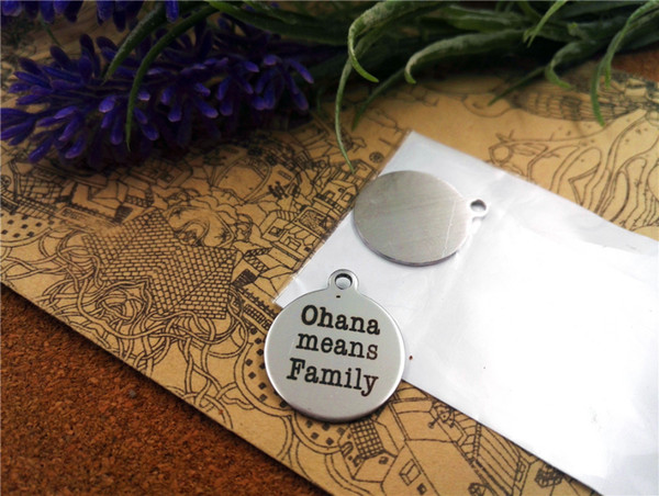 """20pcs--""""ohana means family """"stainless steel charms more style for choosing DIY Charms pendants for necklace"""