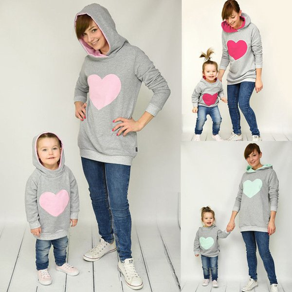 Family Matching Autumn Winter Hoodie Mother Daughter Sweatshirt Cotton Mom Daughter Kids Hoodies Fashion Family Matching Outfits Clothes