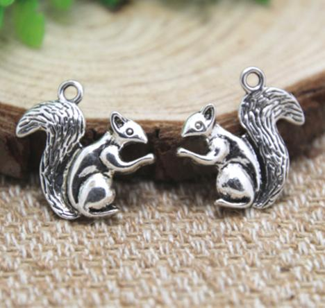 12pcs/lot--Squirrel Charms Antique Tibetan Silver lovely squirrels Charms Pendants, Animal charms 21x21mm
