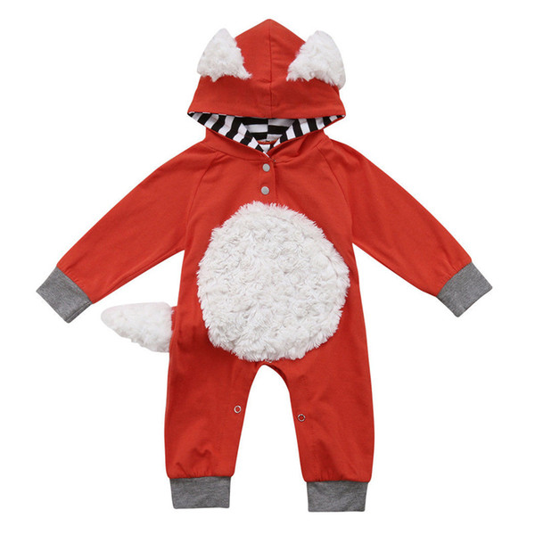Baby girls boys fox romper INS cartoon Long sleeve Hooded Jumpsuits Autumn kids Climbing clothes C5371